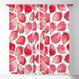 Strawberries watercolor and ink  Blackout Curtain