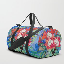 Tropical Protea Bouquet with Toucans in Greek Horse Urn on Ultramarine Blue Duffle Bag