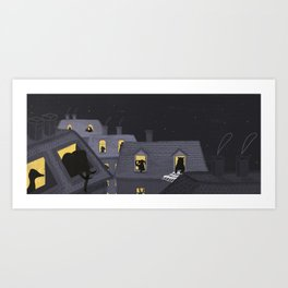 Animals in their houses at night Art Print