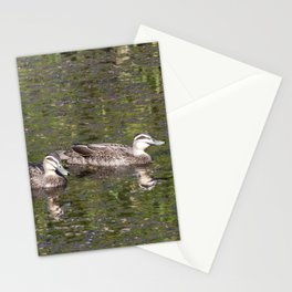 Wood Ducks on a pond Stationery Cards