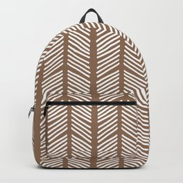 Hand Drawn Sketched Chevrons on Dark Brown Backpack