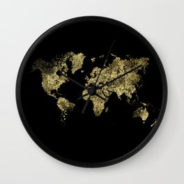 Gold world map Wall Clock