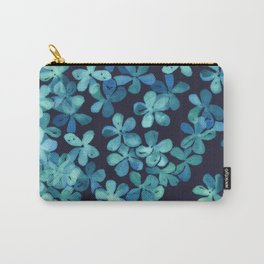 Hand Painted Floral Pattern in Teal & Navy Blue Carry-All Pouch