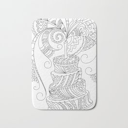 happy birthday with zen patterned cake Bath Mat