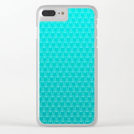 Micro Cats Pattern - Teal Turquoise Ombre Clear iPhone Case