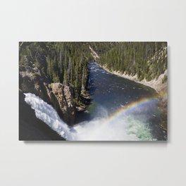 Yellowstone Water fall rainbow Metal Print