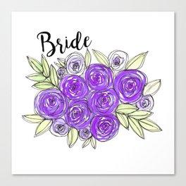 Bride Wedding Bridal Purple Violet Lavender Roses Watercolor Canvas Print