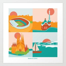 Barcelona Spain Postcard Illustrations Art Print