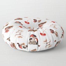 Vintage Mushrooms in Red + Petal Pink Floor Pillow