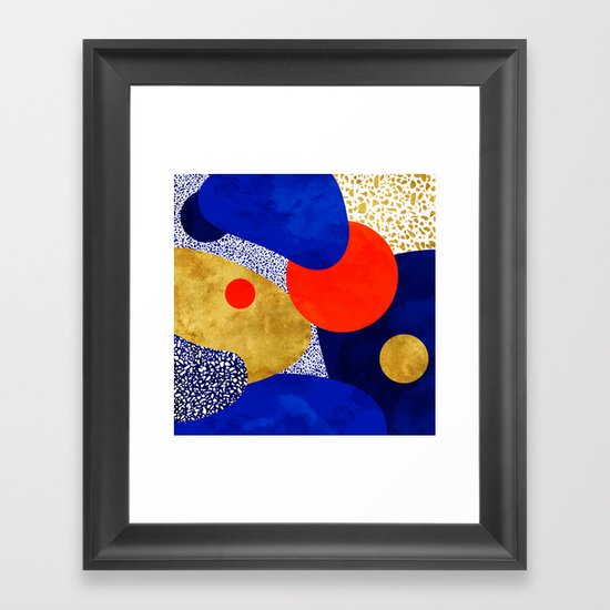 Terrazzo galaxy blue night yellow gold orange by sylvaincombe