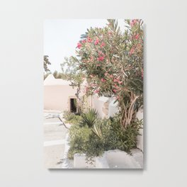 Greece Summer Scenery With Plants Photo | White Island Architecture Art Print | Europe Travel Photography Metal Print