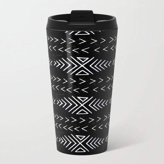 mudcloth 4 minimal textured black and white pattern home decor minimalist Metal Travel Mug