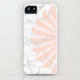 White Marble Geometric Sun Pastel Peach Orange iPhone Case