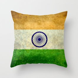 Flag of India - Grungy Vintage Throw Pillow