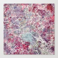 Canvas Prints featuring Berlin map 2  by MapMapMaps.Watercolors