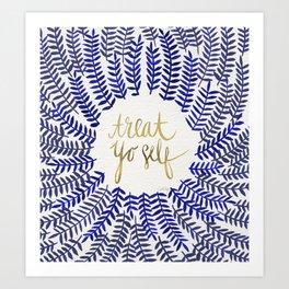 Treat Yo Self – Gold & Navy Art Print