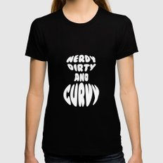 Nerdy, Dirty, and Curvy Black Womens Fitted Tee X-LARGE