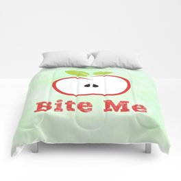 Red Apple Illustration - Bite Me Typography Comforters
