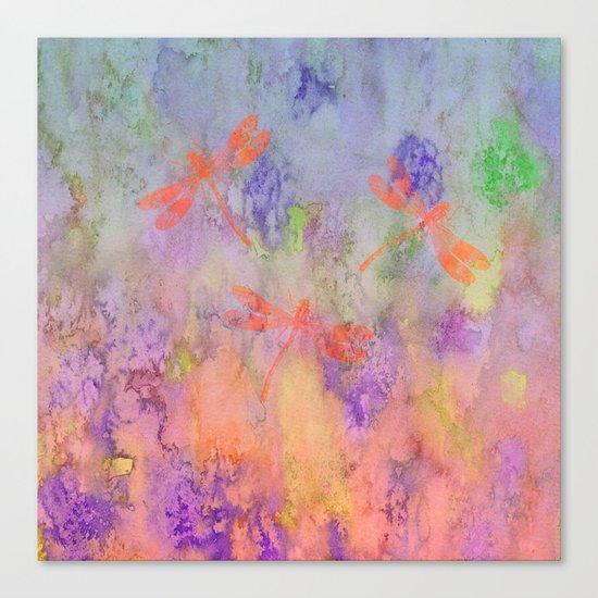 Orange Dragonflies A Canvas Print