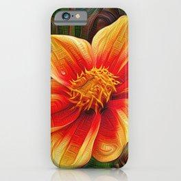 Orange Flower, DeepDream style iPhone Case