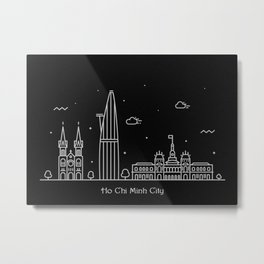 Ho Chi Minh City Minimal Nightscape / Skyline Drawing Metal Print