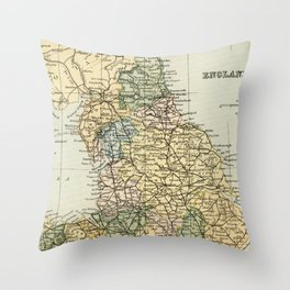 North England and Wales Vintage Map Throw Pillow