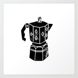 Moka Pot coffee linocut black and white minimal foodie kitchen coffee lover art Art Print