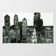 Black and White Philly Skyline Rug