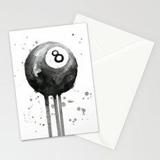 8-Ball Watercolor Black Pool Billiards Eight Ball Art Stationery Cards