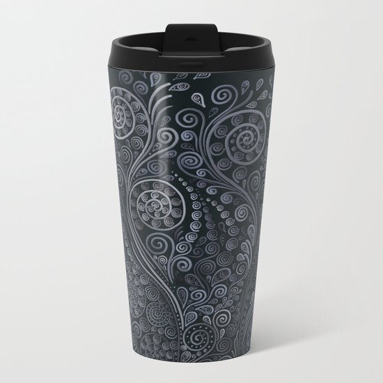 3D ornaments, soft blue Metal Travel Mug