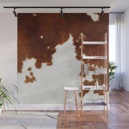 brown cowhide watercolor Wall Mural