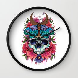 Neo Traditional Skull and Moth watercolor design Wall Clock
