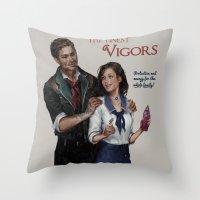 bioshock Throw Pillows featuring Bioshock Infinite Vigor Poster by Camila Vielmond