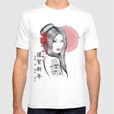 Geisha Doll MEDIUM White Mens Fitted Tee