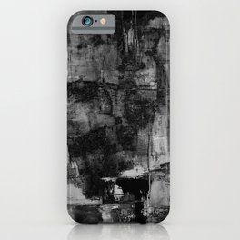 Crackled Gray - Black, white and gray, grey textured abstract iPhone Case