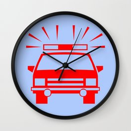 Police car illustration Wall Clock