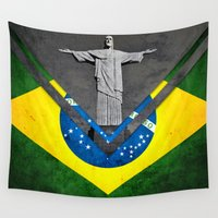 brazil Wall Tapestries featuring Flags - Brazil by Ale Ibanez