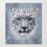snow leopard Canvas Prints featuring snow leopard by ulas okuyucu