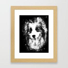border collie shepherd dog splatter watercolor white Framed Art Print