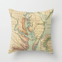 Vintage Virginia and Maryland Colonies Map (1905) Throw Pillow