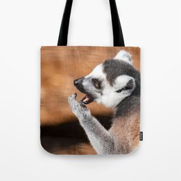 Ring tail lemur eating Tote Bag