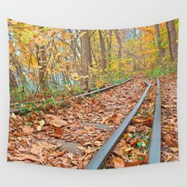 Abandoned Autumn Railroad Wall Tapestry