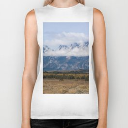 Snow Capped Mountain with Clouds Biker Tank