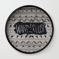 wanderlust Wall Clocks featuring WANDERLUST by Vasare Nar
