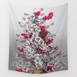 Beautiful Holiday Tree, Frosted Tree With Red Berries and Pine Cones Wall Tapestry