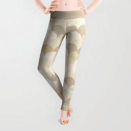 Blush brown ivory faux gold glitter scallop pattern Leggings