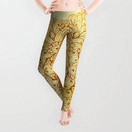 Hand Drawn Floral Mandala 08 Leggings
