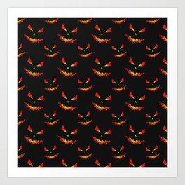 Sparkly Jack O'Lantern face Halloween pattern Art Print