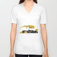 senna V-neck T-shirts featuring Outline Series N.º5, Ayrton Senna, Lotus 99T-Honda, 1987 by Ricardo Santos