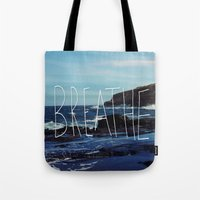 breathe Tote Bags featuring Breathe by Leah Flores